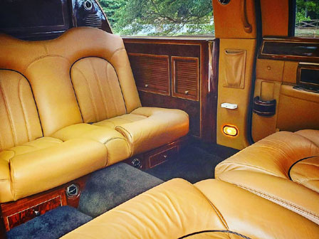 black Stretch Lincoln Town Car Limo interior